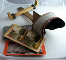 WOOD & TIN ANTIQUE STEREOSCOPE STEREO VIEW PHOTO VIEWER + 9 CARDS UNIQUE REPAIR
