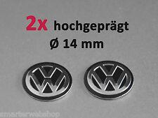 VW Schwarz 3D Schlüssel 2er Set Key Fob ALU Emblem Logo Aufkleber Sticke Ø 14 mm