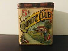 Vintage Country Club cigar tin-antique-tobacco tin-advertising