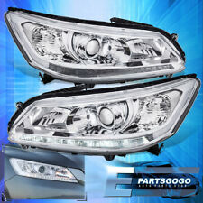 For 13-15 Honda Accord 4DR Replacement Headlights Lamps w/ LED DRL Chrome Clear