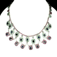Only Heated Oval Blue Sapphire 7x5mm Emerald Ruby 925 Sterling Silver Necklace