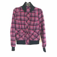 dELiA*S Pink Plaid Wool Jacket Bomber Style Women's Size Large L Wool Blend