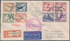 "GERMANY 1936 ""OLYMPICS"" HINDENBURG FLIGHT COVER TO NEW YORK CITY BS213"