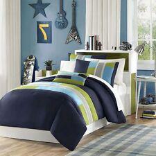 Full Size Comforter Set Boys 4 Piece Navy Blue Green Striped Bedding Bedroom