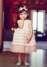 $207 Janie and Jack Pink English Rose Lace Special Occasion Dress Size 6 -12 MO.
