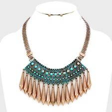 Copper Patina Fringe Metal Spike drops Necklace earring  set