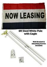 3x5 Advertising Now Leasing Red White Blue Flag White Pole Kit Set 3'x5'