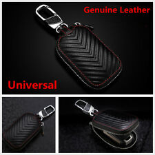Car Key Chain Bag Genuine Leather Smart Key Holder Cover Remote Fob Zipper Case