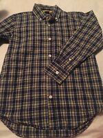Gap Kids Boys Long Sleeve Button Up Shirt Size 8 Medium Blue Yellow