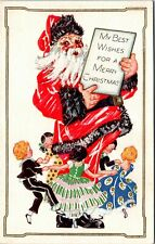 Postcard Embossed Santa Surrounded by Dancing Children 1933 A20