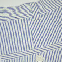BROOKS BROTHERS Seersucker Straight Fit Pleated Blue White Casual Pants 36 x 30