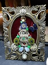 Jewelry Art Christmas Tree, Estate Find Frame, signed by Artist, plenty of Bling