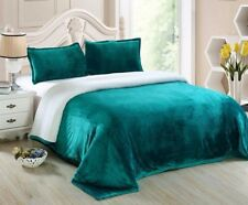 Chezmoi Collection Reversible Micro-mink Sherpa Throw Blanket King, Teal
