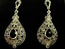 Sterling Silver Filigree Openwork black gemstone Antique design Dangle Earrings