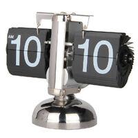 "12"" Digital Auto Flip Clock Retro Stainless Steel Gear Stand Desk Table Clocks"