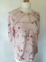 Per Una Top UK 12 Pink Floral Lace and Frill Trim Short Sleeve Fancy T Shirt