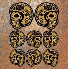 Biker Skull Helmet Sticker Set Retro Vintage Motorcycle cafe racer bobber Decals
