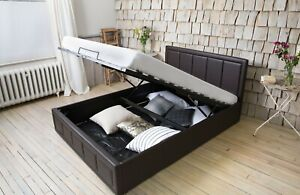 STORAGE LEATHER BED OTTOMAN GAS LIFT DOUBLE OR KING SIZE MEMORY FOAM MATTRESS
