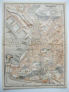stampa antica old print  MAPPA PIANTA FRIULI VENEZIA GIULIA TRIESTE  1911