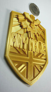Custom made with your name - BRIT-CITY Judge Dredd Golden Badge - Prop/Cosplay