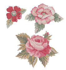 Antique Roses 25 New Shabby Rose Red Pink Wallies Cutouts Stickers Decals Walls
