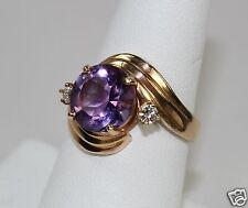 Vintage 14K Yellow Gold Lady's Ring Round 2.86Carat Amethyst w 2 Diamonds sz7.75