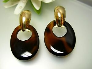 Vintage gold plated oval french clip-on / brownish agate charm drop earrings