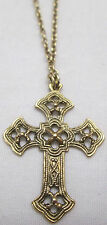 Vintage NOS Loree Gold Tone Cross Pendant Necklace 16 inch Chain New
