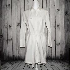 EQUIPMENT FEMME White Button Shirt Dress Cotton Waist String Size Small P