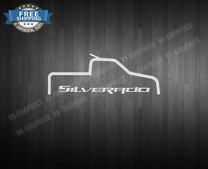 "Decal OUTLINE TRUCK Sticker For Chevrolet SILVERADO Chevy 9"""