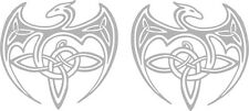 DOUBLE CELTIC  DRAGONS x 2 Mirrored Vinyl Decals in Metallic Silver 150mm each