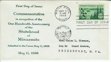 Minnesota Statehood 1106 Unlisted Riemann FDC 1958 USA Stamp Issue