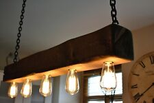 Vintage Ceiling Light Rustic Lamp Wood Hanging Chandelier  *HANDMADE*