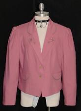 PINK ~ LINEN German Women Riding Summer Career Dress Skirt Suit JACKET / 40 12 M