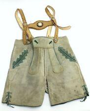 Vintage Marke Bergfreund German Leather Child Lederhosen Suspenders - Size 7