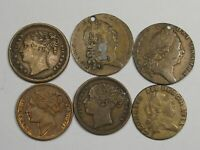 6 Great Britain Gaming Tokens: 1790 George III (3) & 1837 Victoria (3).  #25