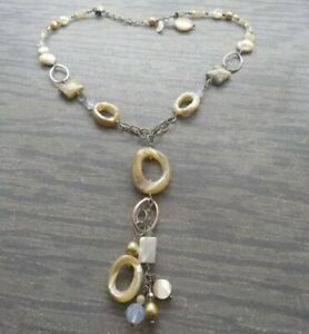 Tres Jolie Signed Sterling Silver Drop Necklace Pearl / MOP / Crystal 925