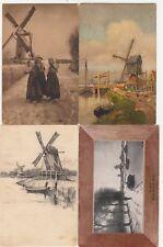 4 OLD POST CARDS PAYS-BAS HOLLANDE NEDERLAND moulins molens mills 2