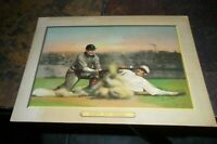 1910 1911 T-3 Turkey Red Baseball Cabinet Card Safe At Third Checklist Back