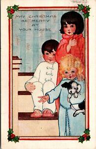 Vintage 1910 Children in Pajamas on Stairs, Embossed Merry Christmas Postcard