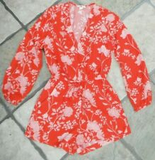 RED & WHITE FLORAL LONG SLEEVED PLAYSUIT, SIZE 8, H&M