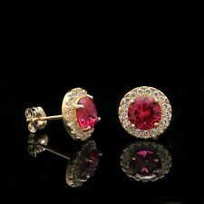 2Ct Round Cut  Red Ruby Diamond Halo Stud Earrings 14k Yellow Gold Finish
