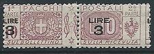 1923-25 REGNO PACCHI POSTALI 3 SU 10 LIRE VARIETà SOPRASTAMPA MNH ** - ED774-6