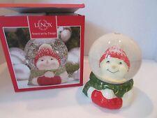 "Lenox Friendly Faces Snowman Snowglobe American By Design #838399 4.7"" Boxed"