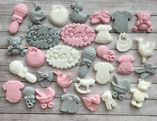 28 Pink,pale grey/White baby girl christening edible cupcake toppers,Baby shower