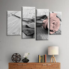 4Pcs/Set Pink Grey White Love Rose Floral Wall Art Picture Print Home Decor