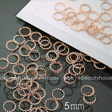 200 PCS 5mm 3D Rose Gold Metal Nail Art Decorations Round Frame #EG-235A
