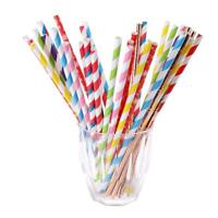 25pcs Disposable Striped Kraft Paper Drinking Straw Birthday Party Xmas Supplies