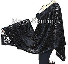 Black Camellia Shawl Wrap Scarf Burnout Velvet Maya Matazaro Elegant!