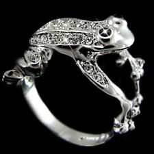 Men Women Frog Ring Band Aaaa Zircon 18K White/Rose Gold Plated Fashion Jewelry